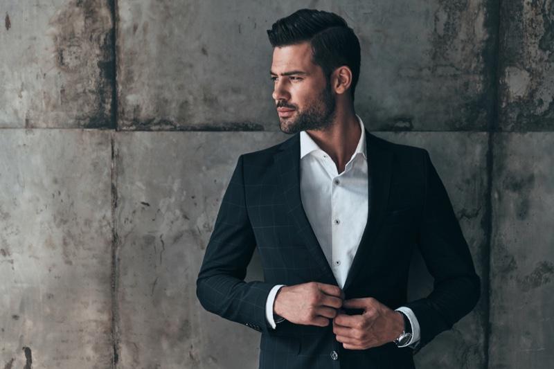 Male Model Suit Jacket Button-up Shirt