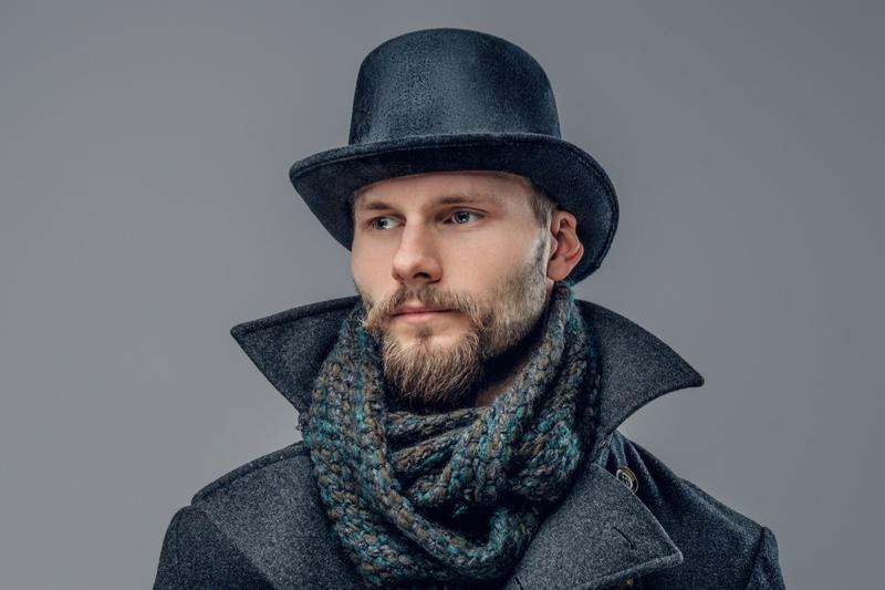 Man Retro Hipster Felt Hat Scarf Closeup