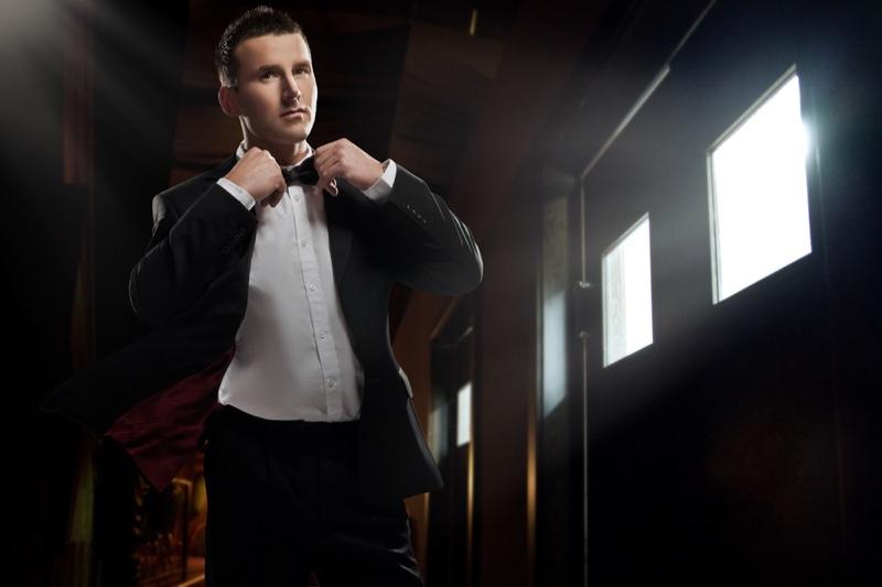 Man Wearing Suit Bow Tie Sunlight Window