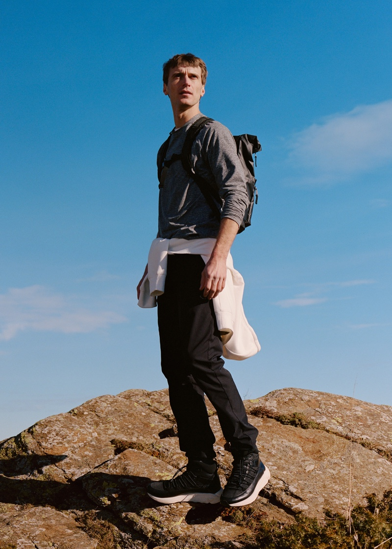 Front and center, Clément Chabernaud models casual style from Mango Man's Improved line.