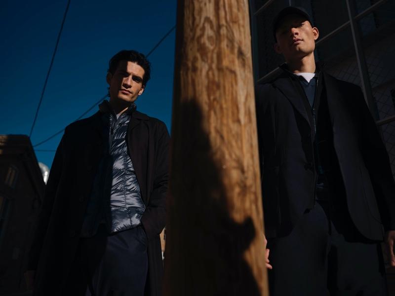 Models Philip Lach De Bere and William Los don new menswear looks from Massimo Dutti.