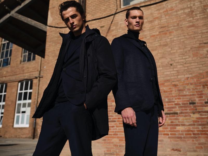 Alberto Perazzolo and William Los model dark winter looks from Massimo Dutti.