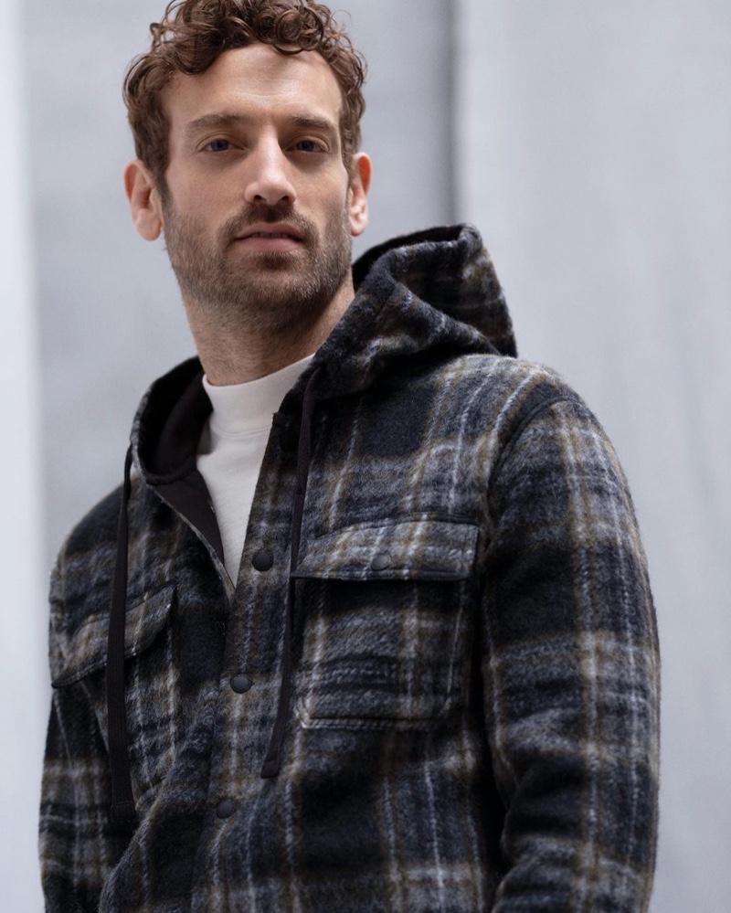 Model Matthew Avedon dons a plaid hooded shirt from Banana Republic.