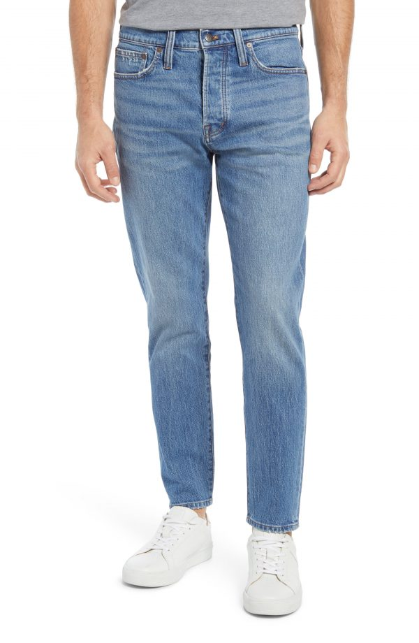Men's Madewell Authentic Flex Relaxed Taper Jeans, Size 29 x 32 - Blue