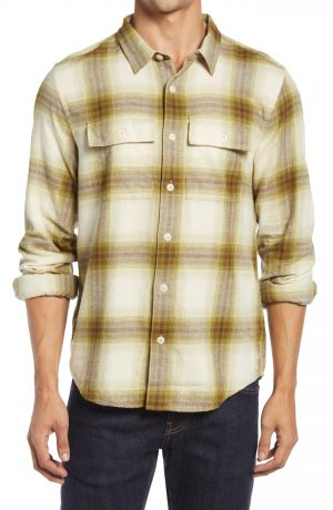Men's Madewell Bayfront Plaid Brushed Twill Perfect Shirt, Size Small - Green