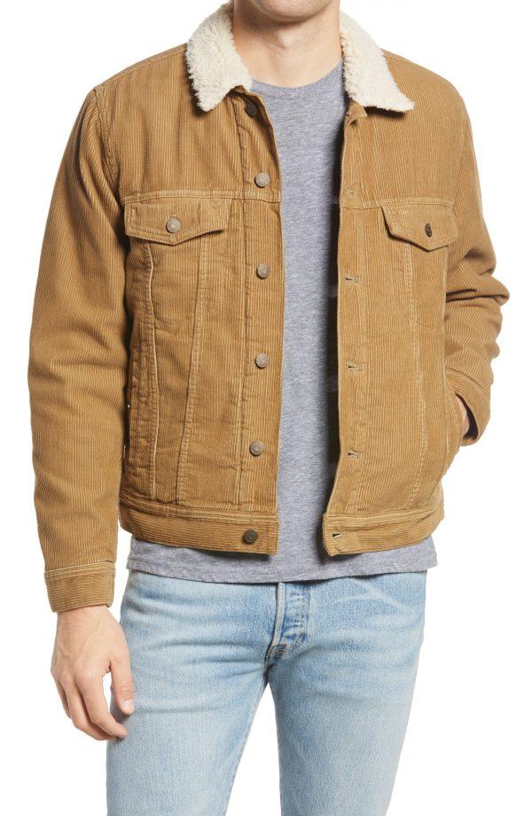 Men's Madewell Corduroy Fleece Jacket, Size Small - Brown
