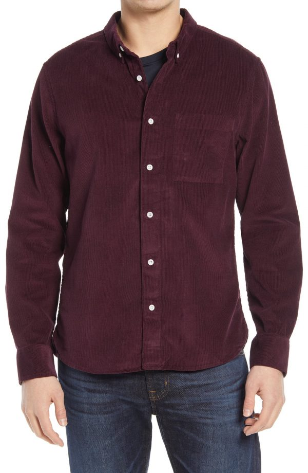 Men's Madewell Corduroy Perfect Button-Down Shirt, Size Large - Purple