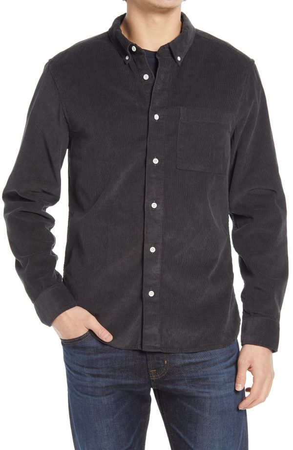 Men's Madewell Corduroy Perfect Button-Down Shirt, Size Small - Black