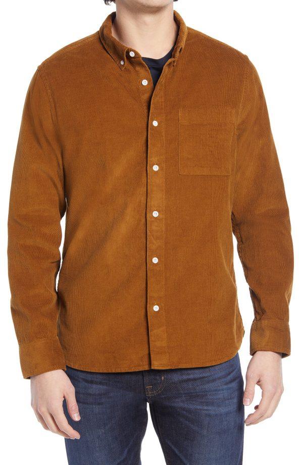 Men's Madewell Corduroy Perfect Button-Down Shirt, Size Small - Orange