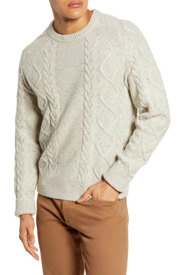 Men's Madewell Donegal Cable Knit Fisherman Sweater, Size Medium - Grey