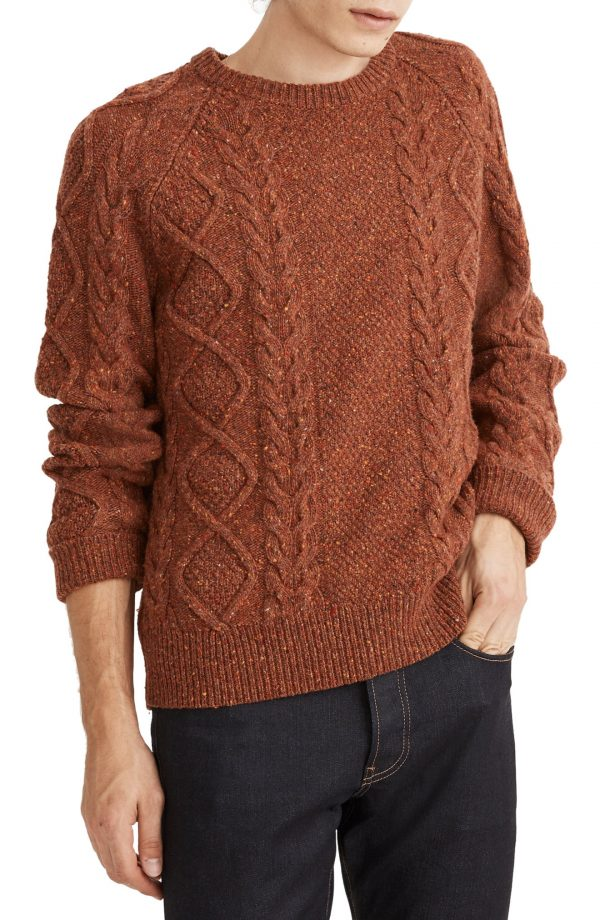 Men's Madewell Donegal Cable Knit Fisherman Sweater, Size Small - Brown
