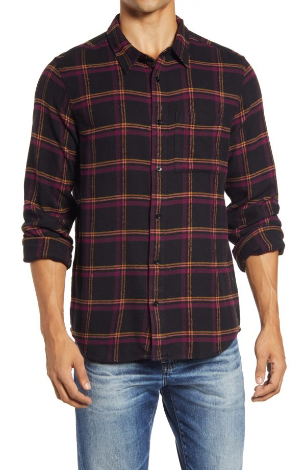 Men's Madewell Double Brushed Perfect Flannel Shirt, Size Small - Purple