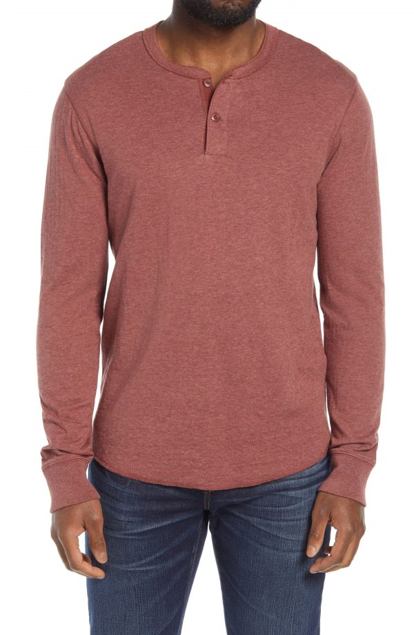 Men's Madewell Doubledown Henley, Size Small - Brown