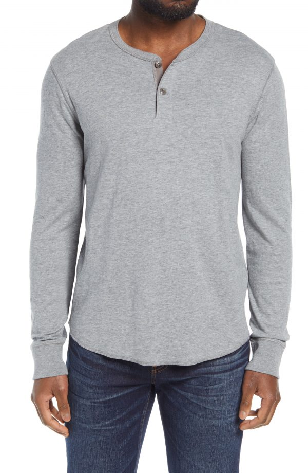 Men's Madewell Doubledown Henley, Size Small - Grey