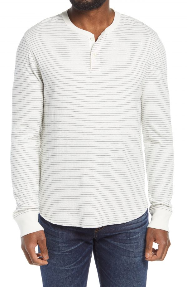 Men's Madewell Doubledown Stripe Henley, Size Small - White