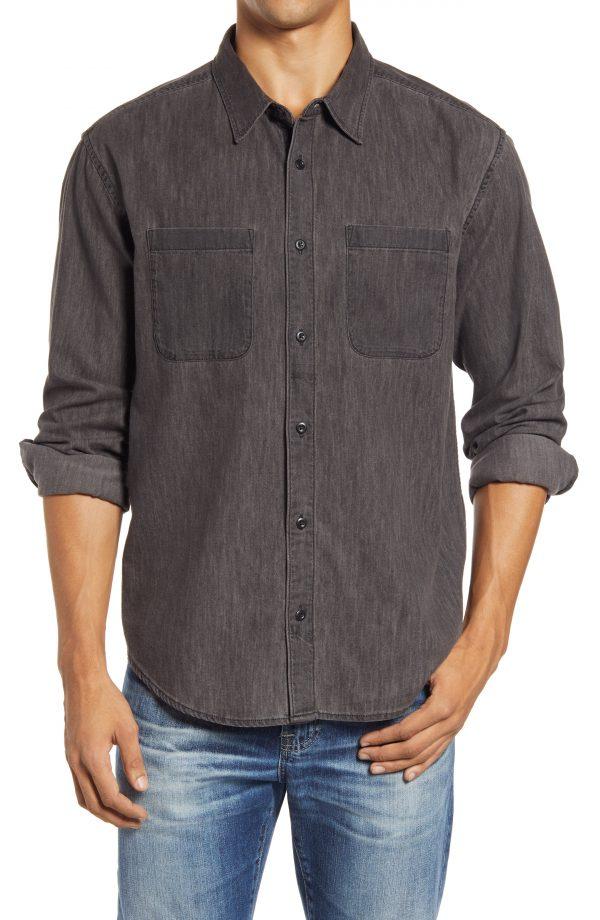 Men's Madewell Easy Long Sleeve Denim Shirt, Size X-Large - Black