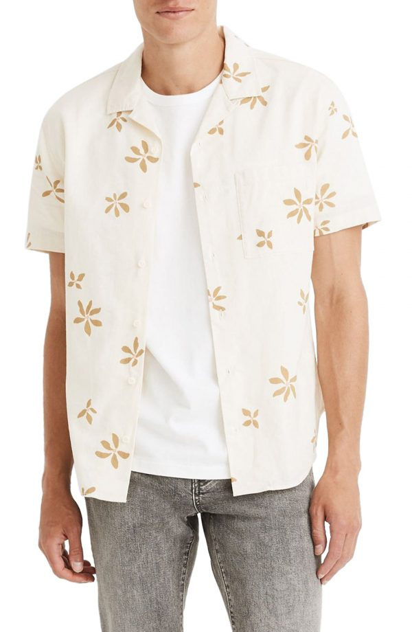 Men's Madewell Easy Slim Fit Floral Short Sleeve Camp Shirt, Size X-Large - White