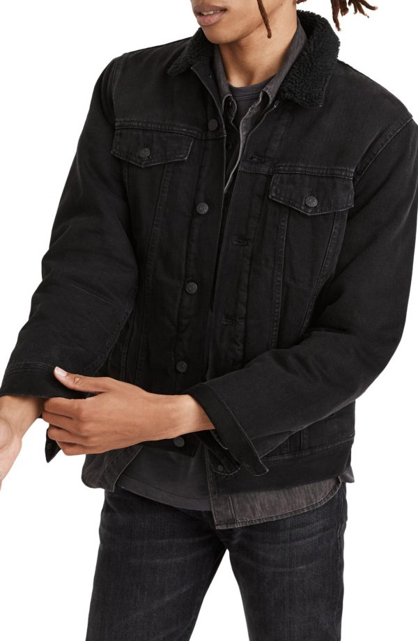 Men's Madewell Faux Shearling Collar Denim Jacket, Size Small - Black