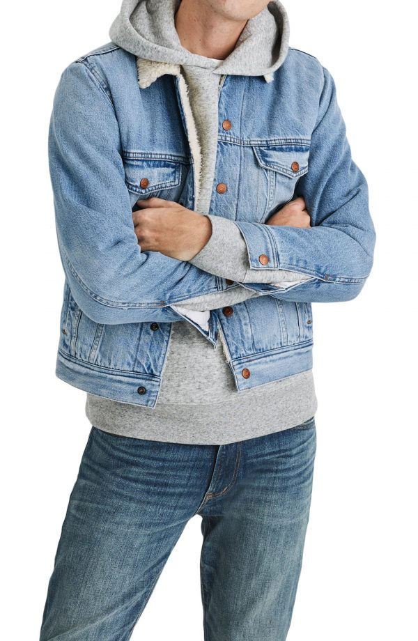 Men's Madewell Faux Shearling Denim Jacket, Size Small - Blue