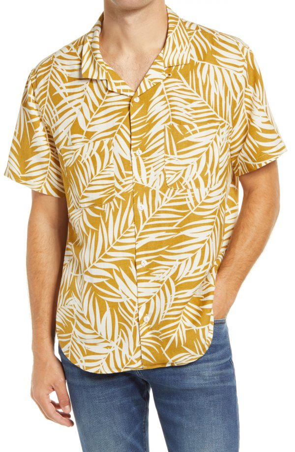 Men's Madewell Fern Fronds Easy Camp Shirt, Size X-Large - Brown