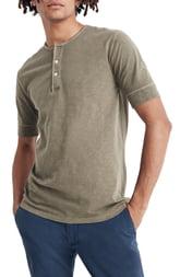Men's Madewell Garment Dye Henley T-Shirt, Size X-Large - Green
