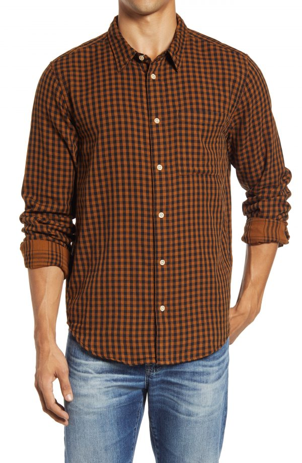 Men's Madewell Men's Gingham Check Double Weave Perfect Shirt, Size Small - Brown