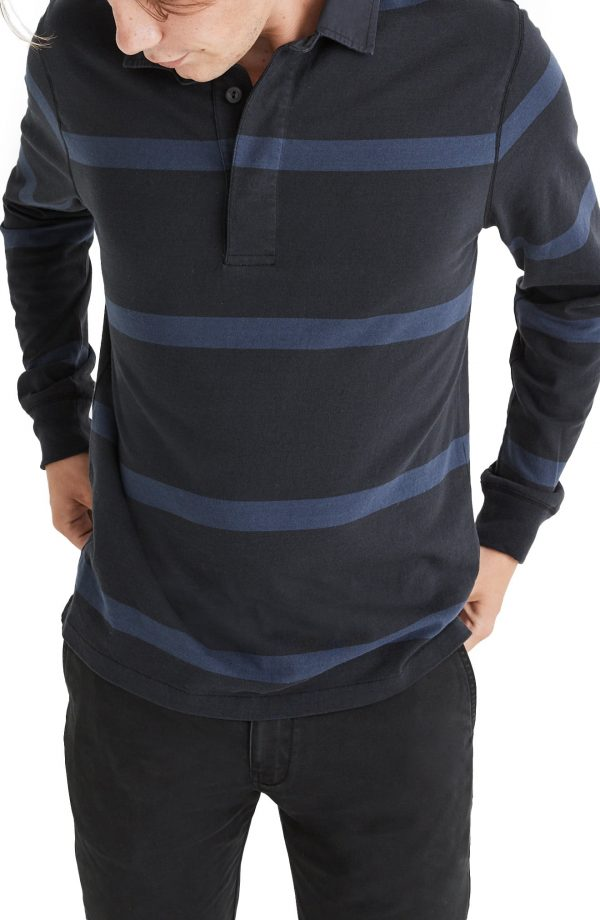 Men's Madewell Men's Stripe Rugby Shirt, Size Medium - Black
