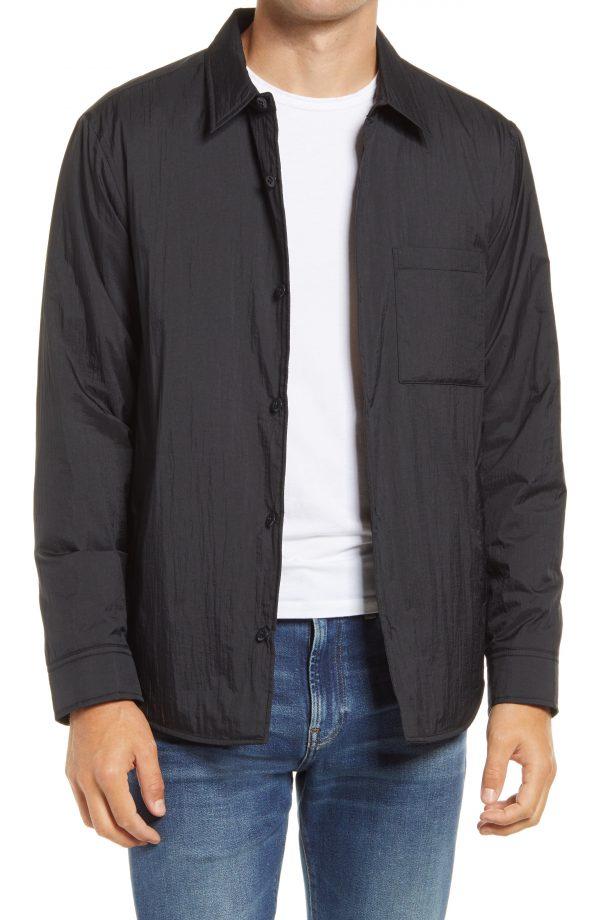 Men's Madewell Nylon Button-Up Shirt Jacket, Size Small - Black