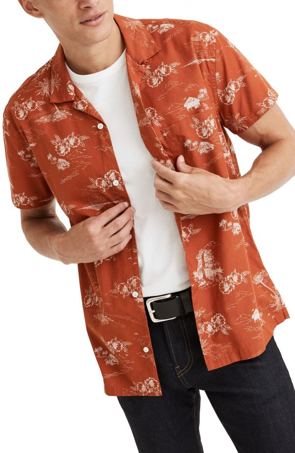Men's Madewell Paradise Toile Regular Fit Short Sleeve Button-Up Camp Shirt, Size Small - Red