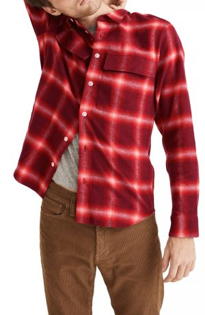 Men's Madewell Perdido Plaid Flannel Perfect Shirt, Size Small - Red