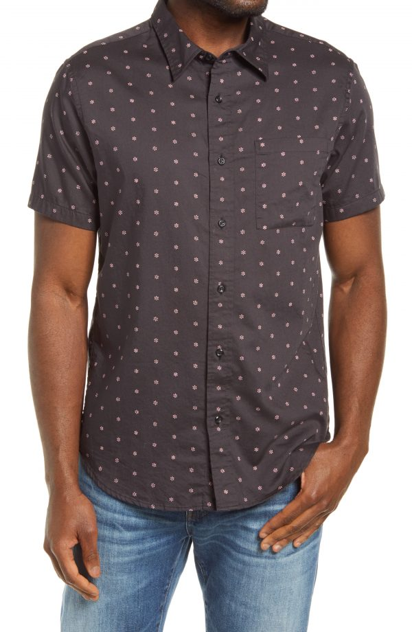 Men's Madewell Perfect Floral Short Sleeve Button-Up Shirt, Size Small - Black