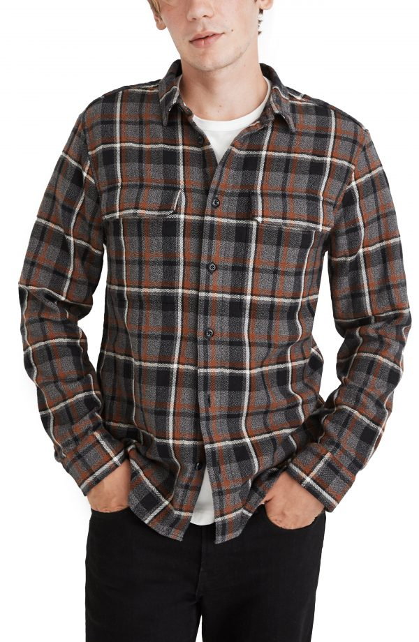 Men's Madewell Perfect Plaid Flannel Button-Up Shirt, Size Small - Grey