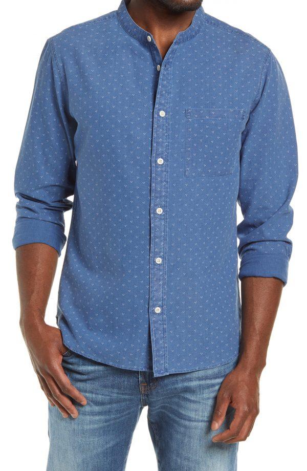 Men's Madewell Perfect Slim Fit Indigo Dot Denim Button-Up Shirt, Size XX-Large - Blue