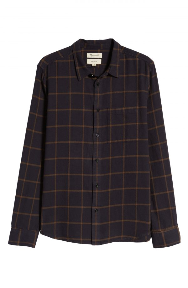 Men's Madewell Perfect Slim Fit Windowpane Flannel Button-Up Shirt, Size Small - Blue