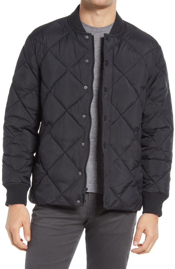 Men's Madewell Quilted Puffer Jacket, Size Medium - Black