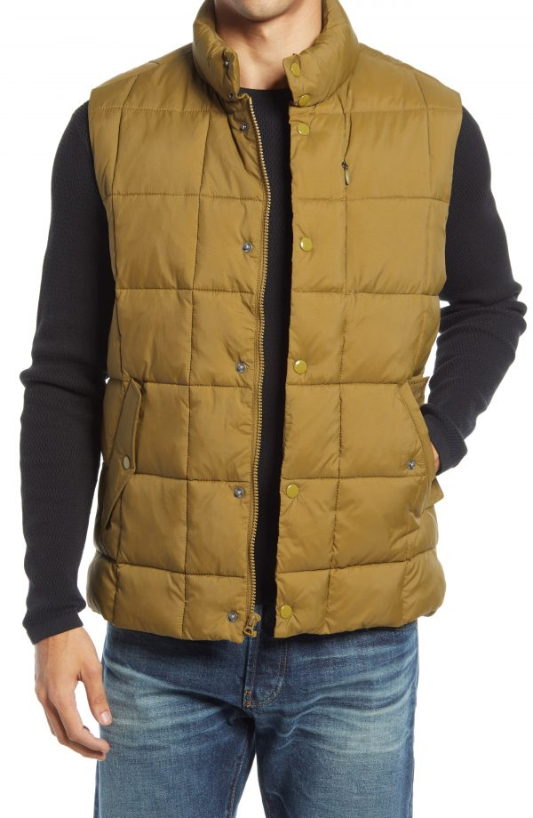 Men's Madewell Quilted Puffer Vest, Size Small - Green