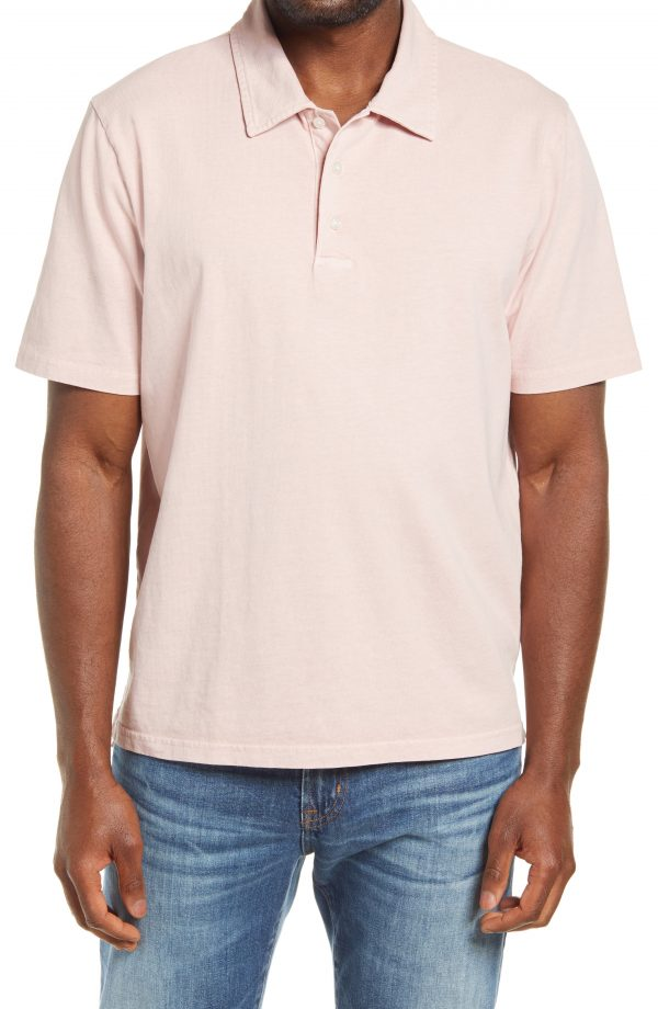 Men's Madewell Regular Fit Garment Dyed Short Sleeve Polo Shirt, Size X-Large - Purple
