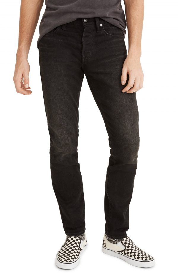 Men's Madewell Selvedge Athletic Slim Authentic Flex Jeans, Size 36 x 32 - Black