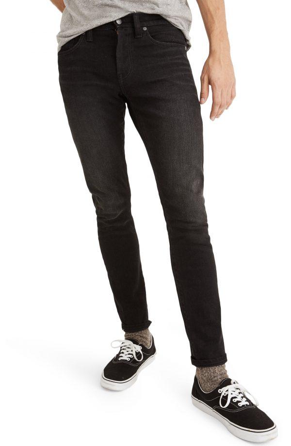 Men's Madewell Selvedge Skinny Authentic Flex Jeans, Size 29 x 32 - Black