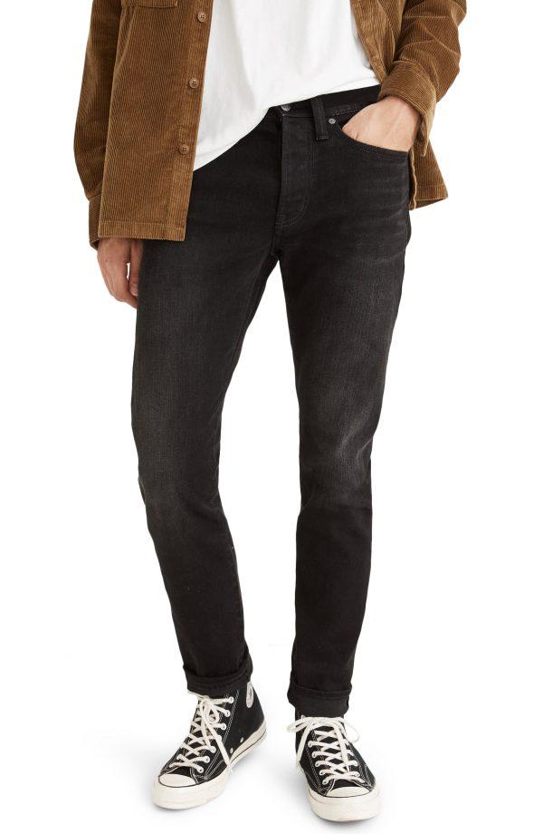 Men's Madewell Selvedge Slim Authentic Flex Jeans, Size 28 x 32 - Black