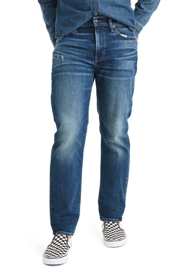 Men's Madewell Straight Leg Jeans, Size 28 x 32 - Blue