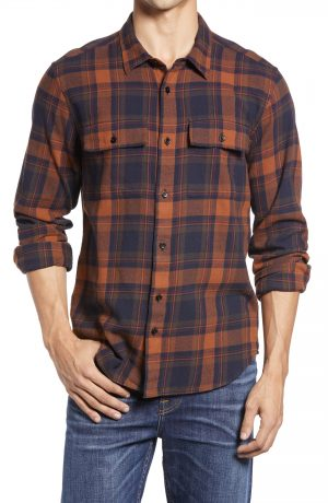 Men's Madewell Tobin Plaid Brushed Twill Perfect Shirt, Size Small - Brown