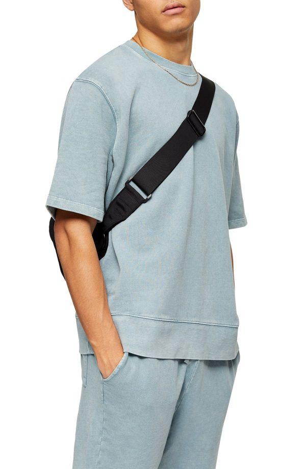 Men's Topman Abyss Oversize Crewneck T-Shirt, Size Medium - Blue