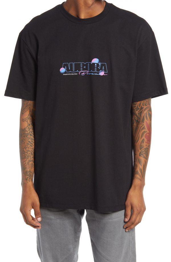 Men's Topman Aurora Graphic Tee, Size Large - Black