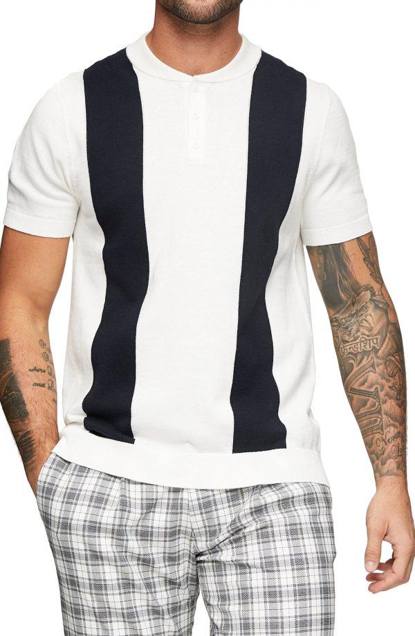 Men's Topman Baseball Stitch Polo Shirt, Size Large - White