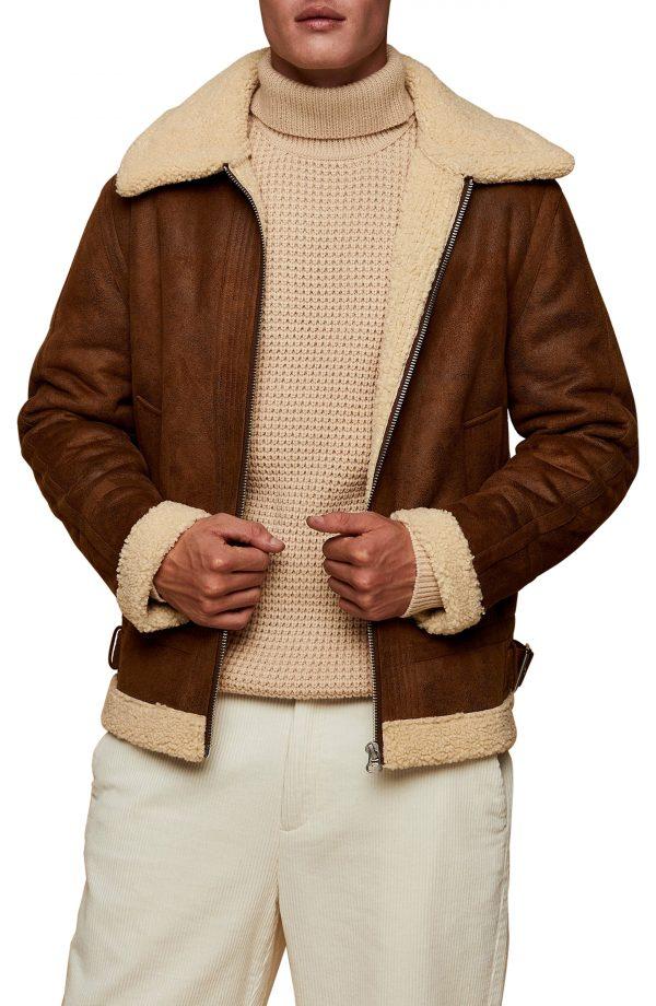 Men's Topman Benny Tape Borg Jacket, Size Large - Brown