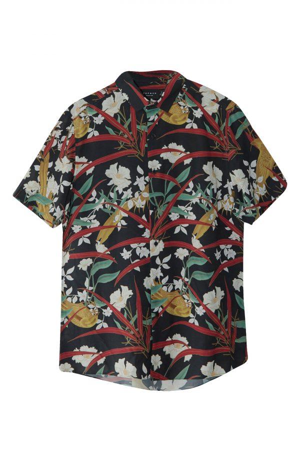 Men's Topman Bird & Floral Print Short Sleeve Button-Up Shirt, Size Large - Black