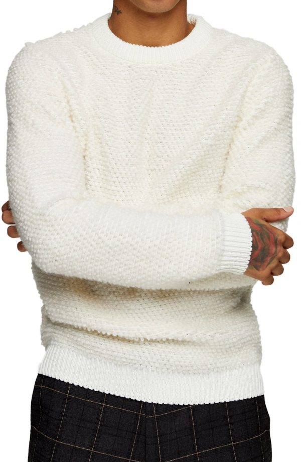 Men's Topman Boucle Crewneck Sweater, Size Large - White