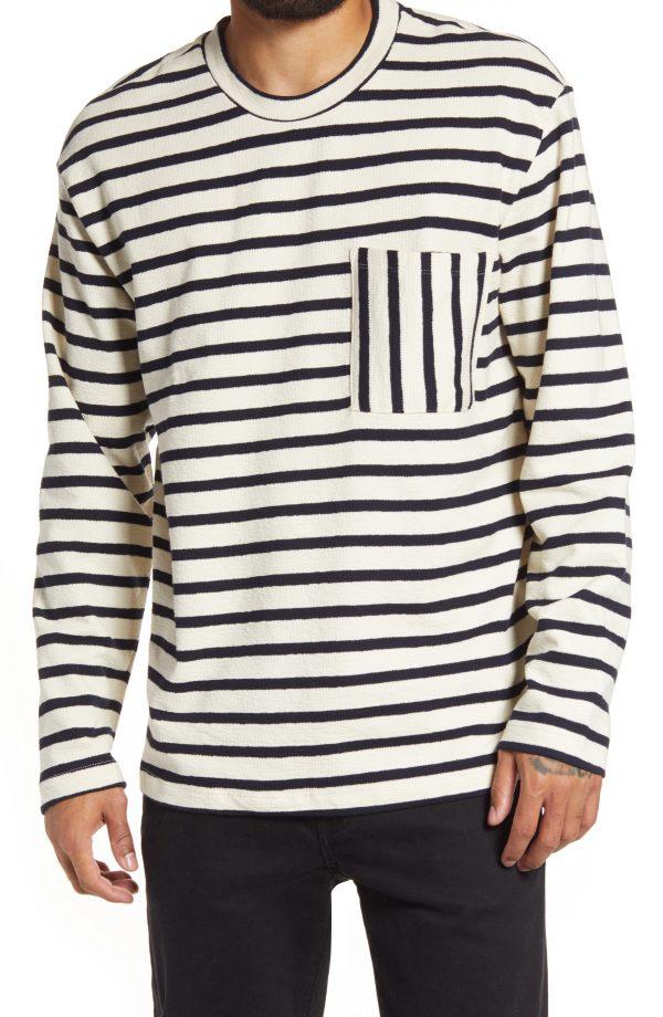 Men's Topman Boxy Stripe Pocket Sweatshirt, Size Large - Ivory