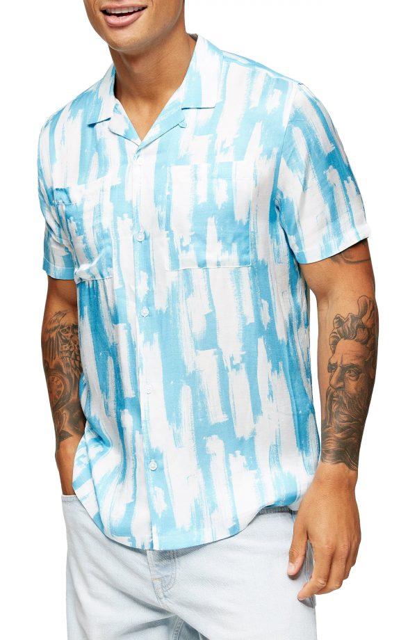 Men's Topman Broken Brush Men's Short Sleeve Button-Up Camp Shirt, Size Medium - Blue